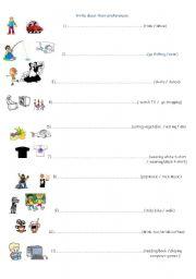 English Worksheets: prefer V+ing sth
