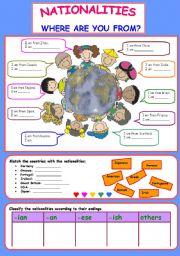 English Worksheet: Nationalities