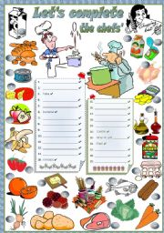 English Worksheet: THE CHEFS� SHOPPING LIST