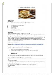 English Worksheet: HOW TO WRITE A RECIPE. GUIDELINES AND SAMPLE TEXT