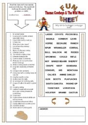 English Worksheet: FunSheet Themes: Cowboys & The Wild West