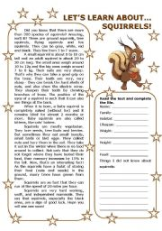 English Worksheet: LET�S LEARN ABOUT... SQUIRRELS