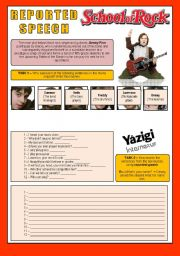 English Worksheets: Movie - SCHOOL OF ROCK - Reported Speech