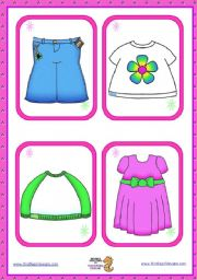 English Worksheets: Basic Clothing Flashcards  (18)