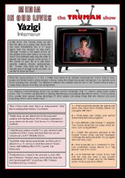 English Worksheet: Movie - TRUMAN SHOW - Media In Our Lives/Television