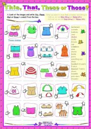 English Worksheets: Demonstrative Determiners  -  This/these  - That/those