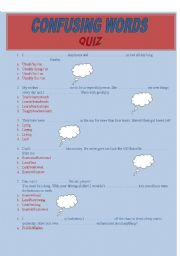English worksheet: confuzing words - quiz