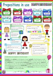 English Worksheet: Prepositions in use (2) Birthday Party (Fully editable)