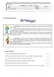 English Worksheet: Big or small families