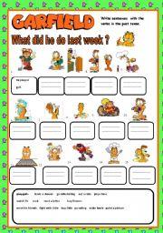 English Worksheet: What did Garfield do last week ?