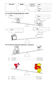English Worksheets: animals� weight