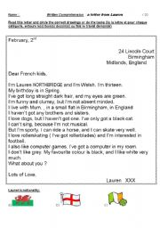 English Worksheet: a letter from a penpal