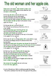 English Worksheets: The old woman and her apple pie.