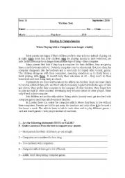 English Worksheet: Test for 11th grade