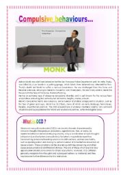 English Worksheets: Let´s learn about Compulsive behaviours with Monk!