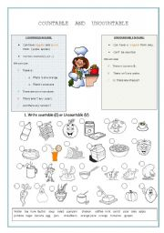 English Worksheets: Countable and Uncountable