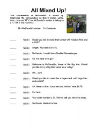 English Worksheet: How to Order Fast Food - Listening Activity + Youtube Video!