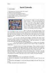 English Worksheet: Facebook reading