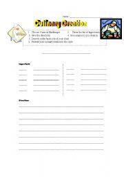 English worksheet: Culinary Creation