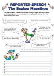 English Worksheet: Reported speech - Boston Marathon
