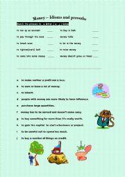 English Worksheet: Money - Idioms and proverbs