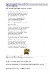 English worksheet: reading practice: First day at school