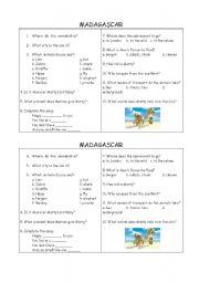 English Worksheet: MADAGASCAR FILM PART 1