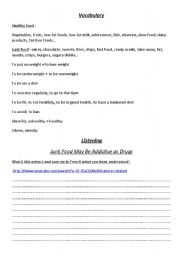 English Worksheet: Listening - Report from ABC News about junk food addiction