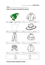 English Worksheet: Clothes, weather, seasons and colours.