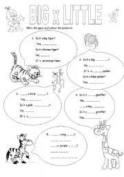 English Worksheets: Big x little