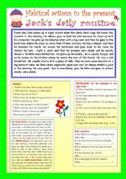 English Worksheet: HABITUAL ACTIONS IN THE PRESENT: JACK�S DAILY ROUTINE.