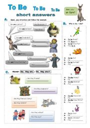 English Worksheet: To Be - short answers