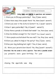 Using was and were to Ask and Answer Questions