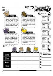English Worksheet: Fill Out Series_02 Jay�s Pets (Fully Editable + Key)