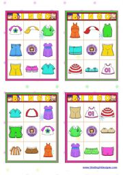 English Worksheets: Clothing  - BINGO Cards  (16)