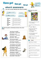 English Worksheet: Have got - short answers