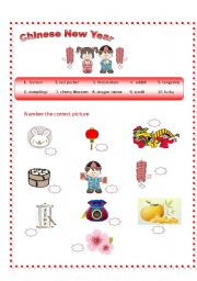 English Worksheet: Chinese New Year Vocabulary