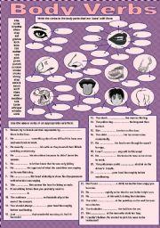 English worksheet: Body Verbs