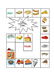English Worksheet: What do you like? Food - Board game