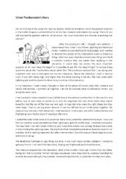 English Worksheet: Victor Frankenstein reading comprehension