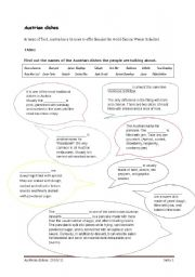 English Worksheets: Famous Austrian dishes