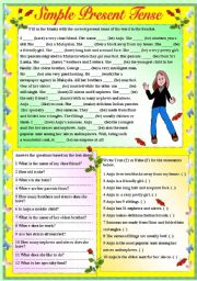 SIMPLE PRESENT TENSE - PARAGRAPH LEVEL (WITH B/W AND ANSWER KEY)