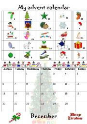 English Worksheet: My advent calendar