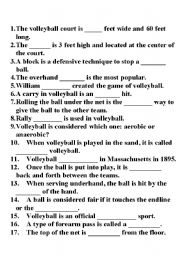 English Worksheet: Volleyball Fill In The Blanks