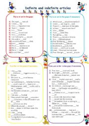 English Worksheet: DEFINITE AND INDEFINITE ARTICLES ***EDITABLE***