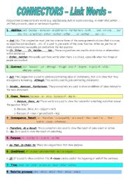 English Worksheets: CONNECTORS- Link Words-