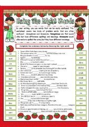English Worksheet: Using the right words - Homophones and Homonyms revision