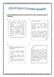English Worksheets: Worksheet_Different types of informative documents