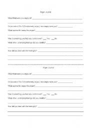 English Worksheets: Anger Journal