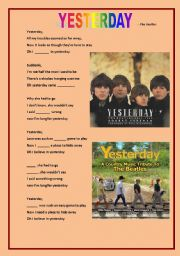 English Worksheet: PAST SIMPLE YESTERDAY SONG